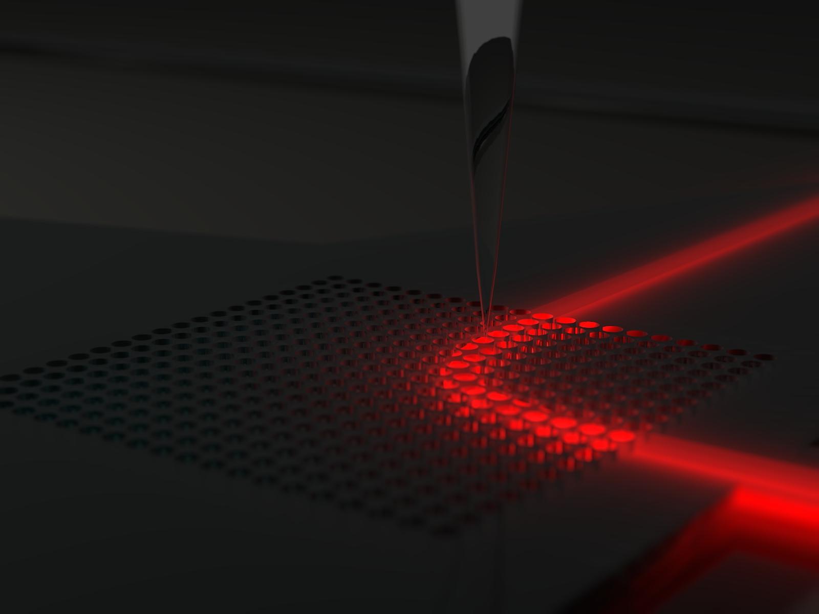 Lumière courbe dans un cristal photonique à gradient - vue d'artiste
